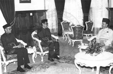 Raja Mansur Razman (seated left) on his appointment as Malaysia's  Ambassador to Italy from the Deputy Yang DiPertuan Agong on 21st December 1983