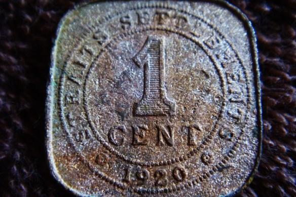 1920 Straits Settlement 1 cent coin