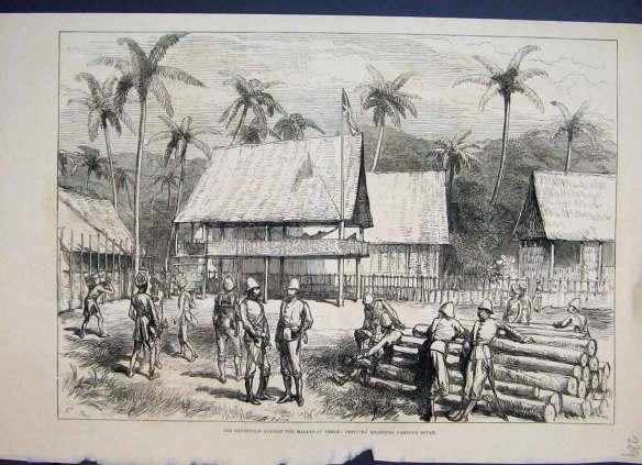 1876 Malays Perak Officers Quarters Campong Boyah. Source: www.old-print.com