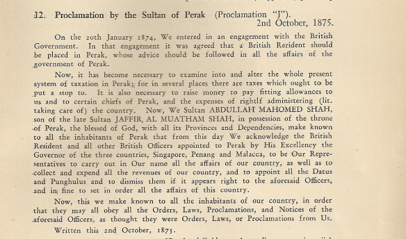 Proclamation J 1875
