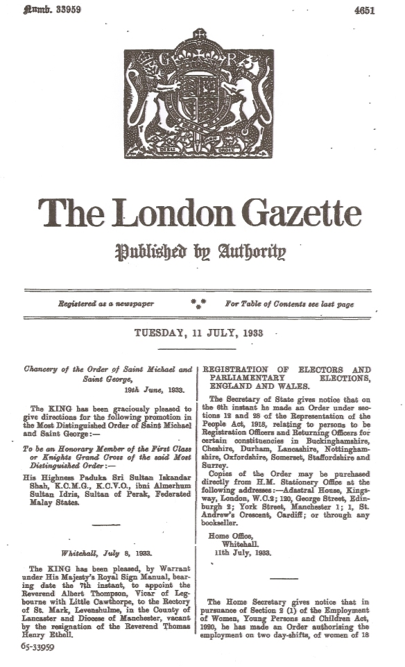 Gazette Issue 33959 published on the 11 July 1933. Page 1 of 64