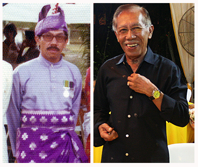 Left: Photo taken in Seremban, 1973 (Source: Raja Kassim Kamaralzaman); Right: Raja Kassim as he is now. Photo taken at his residence in KL, 2009. (Source: Raja Mahariz Muzaffar)