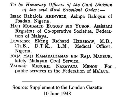 tok kam OBE 1948