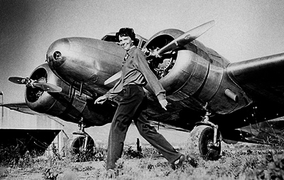 Amelia Earhart on Amelia Earhart And Her Lockheed Elektra   Source  Wikipedia