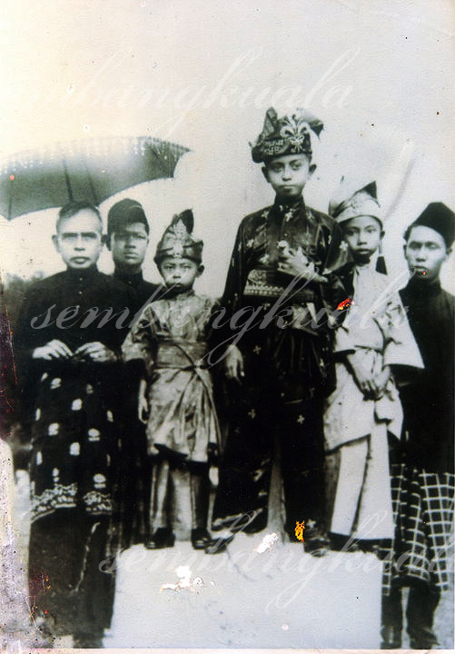 A young Raja Idris on his appointment as Raja Di-Hilir in 1934. Standing on his right are his father, Sultan Iskandar Shah, and nephew, Tengku Ahmad Shah (the present Sultan of Pahang). (Source: YM Raja Mariam Raja Mohamed)