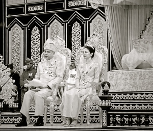 The Regent, Raja Dr. Nazrin Shah delivering Royal Address in conjunction of Sultan Azlan Muhibbuddin Shah's birthday celebration in April 2014.